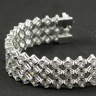 3 Row Asscher Cut Bracelet Mounting in Platinum