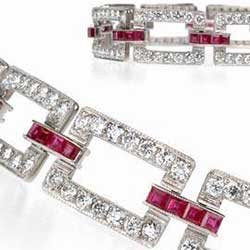 Deco Bracelet in Platinum with Diamonds and Rubies