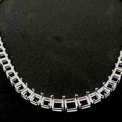 Platinum Necklace Mounting for Asscher Cut Diamonds