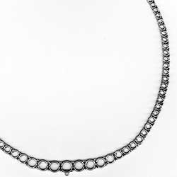 Blank 3 Prong Riviere Necklace Mounting in Platinum for Round Diamonds
