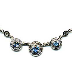 Platinum necklace with diamonds and aquamarines