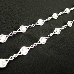 Bezel Set Diamond necklace in Platinum