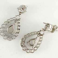 Blank Drop Platinum Earring Mountings for rounds and Pear shaped diamonds